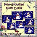 Prim Snowman Note Cards (printable)  F2B