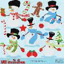 MyGrafico.com - Snowmen in Top Hats Clip Art
