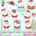 MyGrafico Vacation Santas Clipart
