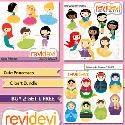 Mygrafico - Cute Princesses Bundle Clip Art